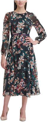 Tommy Hilfiger Corsage Print Chiffon Midi Dress