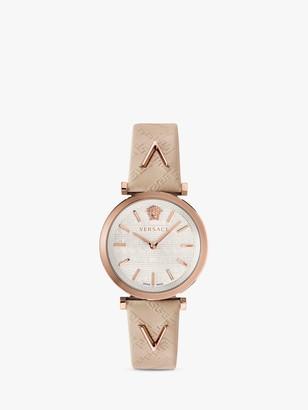 Versace VELS00419 Women's Twist Leather Strap Watch, Greyq