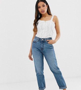 ASOS DESIGN Petite Recycled Ritson rigid mom jeans in mid vintage wash