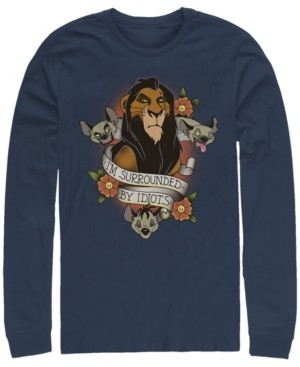 Disney Men's Lion King Scar Surrounded by Idiots Tattoo, Long Sleeve T-Shirt