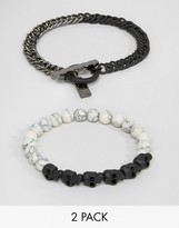 ICON BRAND Skull & Marble Beaded Bracelets In 2 Pack