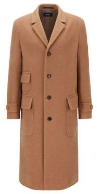 BOSS Overcoat in camel hair and virgin wool