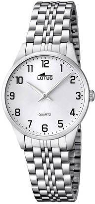 Lotus Women's Quartz Watch with White Dial Analogue Display and Silver Stainless Steel Bracelet 15884/1