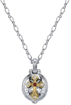 """Symbols of Faith Silver-Tone and 14K Gold-Dipped St. Jude Lift-Up Necklace 20"""""""