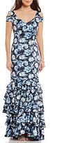 Kay Unger V-Neck Cap Sleeve Cold-Shoulder Floral Ruffle Hem Gown
