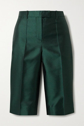 Givenchy Wool And Silk-blend Satin-twill Shorts - Emerald