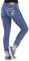 Amethyst Jeans Jillian Roll-Up Plaid Accent Skinny Jeans
