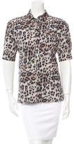 Chloé Leopard Print Button-Up Top