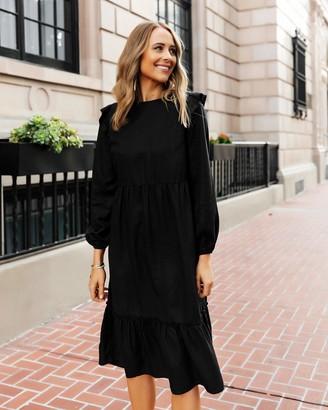 The Drop Women's Black Ruffle-Shoulder Tiered Midi Dress by @fashion_jackson XXS