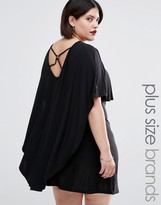 Club L Plus Dress With Cape Detail And Harness Back