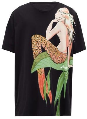 Loewe Paula's Ibiza - Mermaid-print Jersey T-shirt - Mens - Black