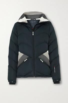 Perfect Moment Apres Duvet Striped Quilted Down Ski Jacket - Black