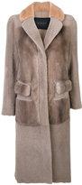 Blancha - faux fur overcoat - women - Cotton/Leather/Viscose/Merino - 42