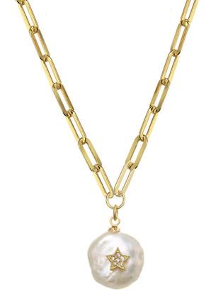 Rachel Reinhardt 14K Over Silver 18-20Mm Pearl & Cz Paperclip Chain Necklace