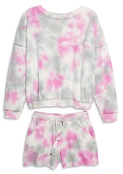 Free People Kelly Washed Tie Dyed Sweatshirt & Shorts