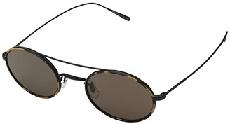 Oliver Peoples Shai (Amber Tortoise/Silver/Green) Fashion Sunglasses