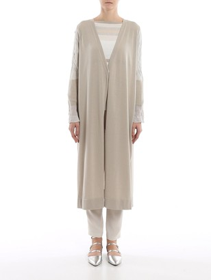 Fabiana Filippi Contrasting Sleeve Long Cardigan