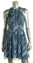 Calvin Klein Women's Printed Chiffon Halter Dress (2P, Blue Multi)
