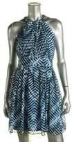 Calvin Klein Women's Printed Chiffon Halter Dress (6P, Blue Multi)