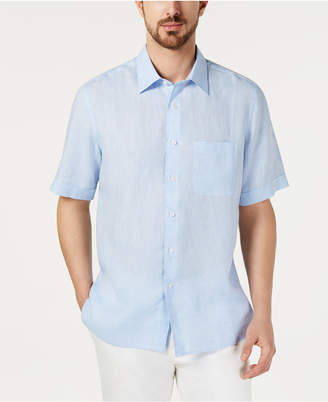 Tasso Elba Men Cross-Dye Short Sleeve Linen Shirt