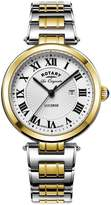 Rotary Swiss Lucerne Silver Tone Roman Numerial Dial Two Tone Stainless Steel Mens Watch