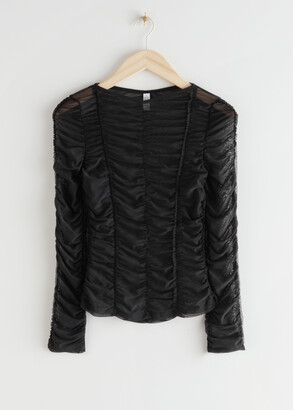 And other stories Ruched Long Sleeve Top