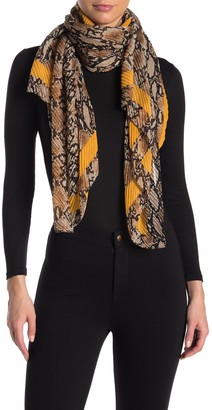 David & Young Snakeskin Print Pleated Scarf