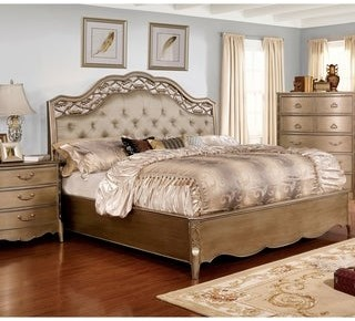 Furniture of America Darl Traditional Gold Solid Wood Tufted Panel Bed