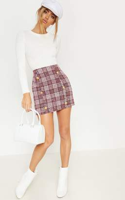 PrettyLittleThing Red Tweed Button Mini Skirt