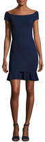 La Petite Robe di Chiara Boni Dalane Cap-Sleeve Flounce Cocktail Dress, Navy