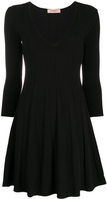 Twin-Set Pleated Fine Knit Dress