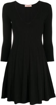 Twin-Set pleated fine knit dress