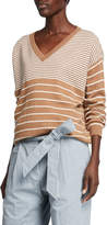 Brunello Cucinelli Wool-Cashmere Variegated Striped V-Neck Sweater