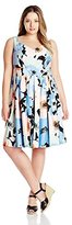 Calvin Klein Women's Plus-Size Printed Fit-And-Flare Dress