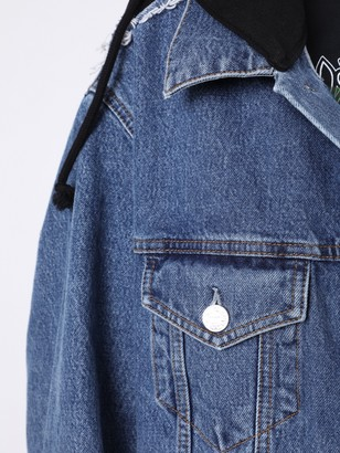 Vetements Hooded Denim Jacket Blue