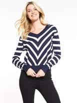 Very Diagonal Stripe V Neck Front And Back Jumper - Navy/White