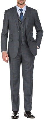English Laundry Grey Plaid Two Button Notch Lapel Vest Suit