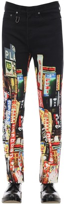 Neil Barrett 22cm Printed Skinny Cotton Denim Jeans