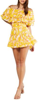 MISA Luella Off-Shoulder Ruffle Mini Dress
