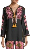 Figue Split-Neck Tassel-Tie Cotton Gauze Top with Embroidery