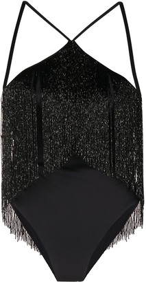 La Reveche Bead Tassel One-Piece Swimsuit