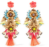 Elizabeth Cole 24-Karat Gold-Plated Swarovski Crystal, Stone And Resin Earrings