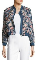 Needle & Thread Sundaze Embroidered Denim Bomber Jacket, Blue