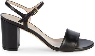 Stuart Weitzman Solo Leather Block Heel Sandals