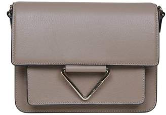 Karl Lagerfeld Paris K / Vector Shoulder Bag In Beige Color Leather