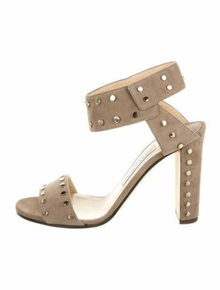 Jimmy Choo Suede Studded Accents Sandals Grey