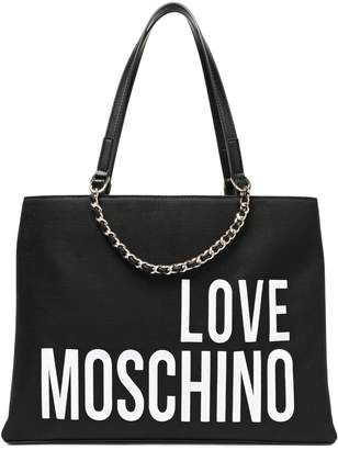 Love Moschino Logo-embroidered Canvas Tote