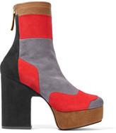 Pierre Hardy Ziggy Patchwork Stretch-Suede Platform Ankle Boots
