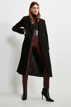 Karen Millen Wool Rich Faux Leather Belt Coat