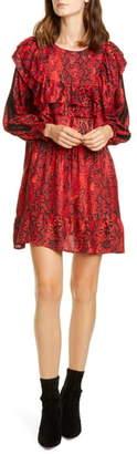BA&SH Sym Snake Print Long Sleeve Babydoll Dress